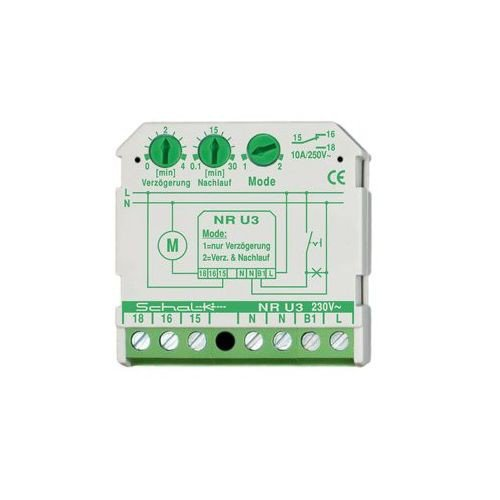 Schalk Nachlaufrelais UP mit NR U3 230V AC Einschaltverzögerung, Installationstechnik für Reiheneinbau